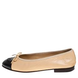 Chanel Beige/Black Leather Bow CC Cap Toe Ballet Flats Size 38