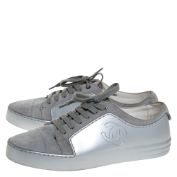 Chanel Grey/Silver Suede And Rubber CC Cap Toe Lace Up Sneakers Size 40