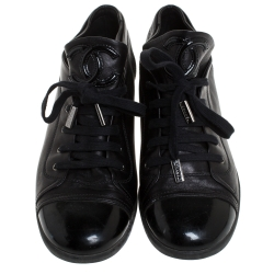 Chanel Black Leather And Patent Leather Cap Toe Lace Up Sneakers Size 41.5