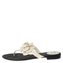 Chanel White Rubber Camellia CC Thong Sandals Size 39