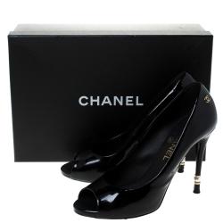 Chanel Black Patent Leather Peep Toe Pumps Size 38.5
