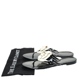 Chanel Black and White Jelly Camellia Thong Sandals Size 39