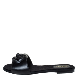 Chanel Black Leather Camellia Embellished CC Flat Slides Size 42