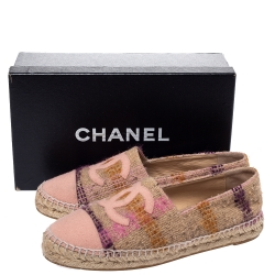 Chanel Beige Tweed Fabric CC Cap Toe Espadrilles Size 40