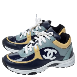 Chanel Multicolor Leather CC Low Top Sneakers Size 38