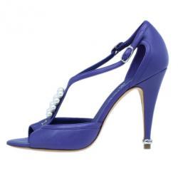 Chanel Violet Leather Pearl Embellished Sandals Size 39