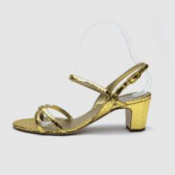 Chanel Gold Python Sandals Size 37.5