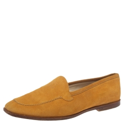 Chanel Yellow Suede CC Slip On Loafers Size 37.5
