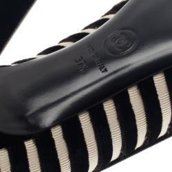 Chanel Black Velvet Striped Pumps Size 37.5