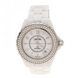 85ea609bd1a Chanel White Ceramic Stainless Steel Diamond J12 Women s Wristwatch 38 mm