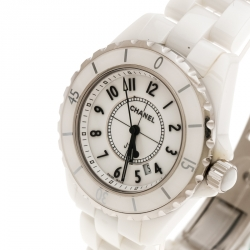 Chanel White Stainless Steel And Ceramic J12 Women's Wristwatch 34mm