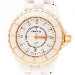 Chanel White Ceramic Gold Plated Steel Diamonds J12 H2181 Women's Wristwatch 33 mm