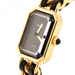 Chanel Black Gold Plated Stainless Steel Premiere Women's Wristwatch 20MM
