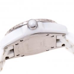 Chanel White Stainless Steel Ceramic Diamonds J12 Women's Wristwatch 33 mm