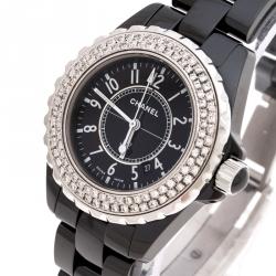Chanel Black Ceramic Stainless Steel Diamonds J12 Women's Wristwatch 34 mm