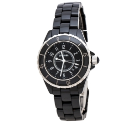 Chanel Black Ceramic Stainless Steel J12 H0682 Women's Wristwatch 33 mm