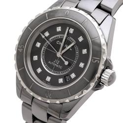 Chanel Grey Ceramic Stainless Steel Diamond J12 H3242 Women's Wristwatch 38 mm
