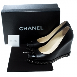 Chanel Black Leather Chain Cap Toe Wedge Pumps Size 37