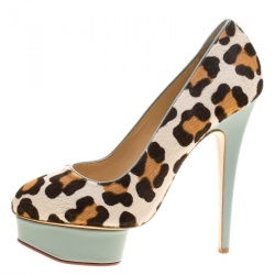 Charlotte Olympia Beige Leopard Print Calf Hair Polly Platform Pumps Size 39.5