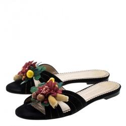 Charlotte Olympia Black Suede Tropical Floral Embellished Flat Slides Size 38