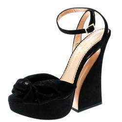 50b9221619d Charlotte Olympia Black Suede Vreeland Ankle Strap Platform Sandals Size 40