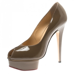 dedc3637a150 Charlotte Olympia Pickle Green Patent Leather Daphne Peep Toe Platform  Pumps Size 39