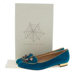 Charlotte Olympia Blue Suede Scorpio Smoking Slippers Size 39.5