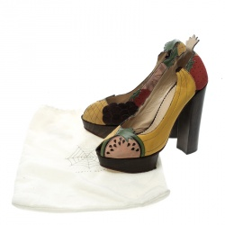 Charlotte Olympia Multicolor Leather and Suede Bananas Is My Business Block Heels Pumps Size 39