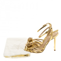 Charlotte Olympia Metallic Gold Leather Surprise! Ankle Strap Sandals Size 35.5