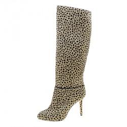 Charlotte Olympia Beige Leopard Print Pony Hair Corine Knee High Boots Size 36