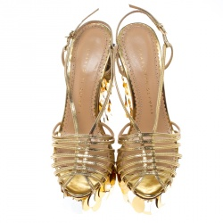 Charlotte Olympia Metallic Gold Leather Poseidon Disc Embellished Wedge Platform Sandals Size 37