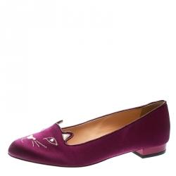 Charlotte Olympia Purple Satin Kitty Flats Size 39
