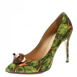 0452528b52a Charlotte Olympia Green Printed Satin Bear Necessities Pointed Toe Pumps Size  38