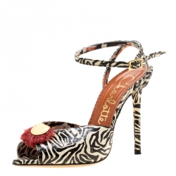 fddfc2a1aff0 Charlotte Olympia Monochrome Zebra Print Python Embossed Leather Ankle  Strap Sandals Size 36