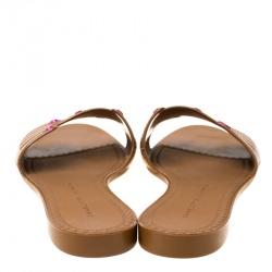 حذاء سلايدز فلات شارلوت أوليمبيا مانيبدي مطاط بني مقاس 37