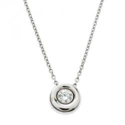 Chaumet Diamond Solitaire 18k White Gold Round Pendant Necklace