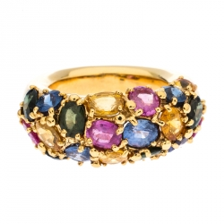 Chaumet Multicolor Sapphire 18k Yellow Gold Cocktail Band Ring Size 53