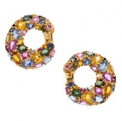 Chaumet Multicolor Sapphire 18k Yellow Gold Hoop Earrings
