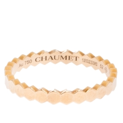 Chaumet Bee My Love Textured 18K Rose Gold Ring Size 52