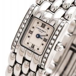 Chaumet Beige Stainless Steel Diamonds Khesis Ref: 33 85 57 Women's Wristwatch 17.50 mm