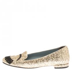 05a011be8 Chiara Ferragni Metallic Gold Coarse Glitter Flirting Smoking Slippers Size  37