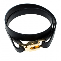 Chloe Black Leather Skinny Snap Buckle Belt S