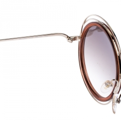 Chloe Brown Gradient CE120S Carlina Oversized Round Sunglasses