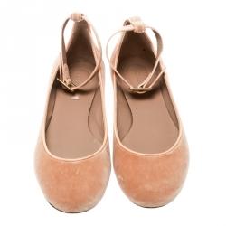 Chloé Beige Velvet Heaven Ankle Strap Ballet Flats Size 36