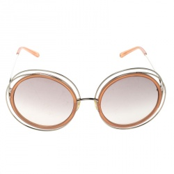 Chloe Gold/Brown Gradient CE120S Carlina Oversized Round Sunglasses
