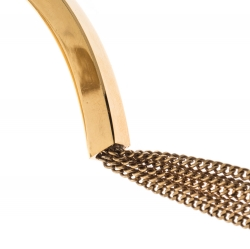 Chloe Layered Chain Gold Tone Hinged Statement Necklace