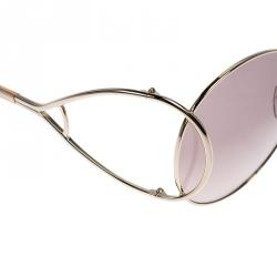 Chloé Rose Gold Tone/Peach Gradient CE124S Round Sunglasses