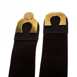 Chloe Dark Brown Fabric and Leather Elastic Waist Buckle Belt 85CM