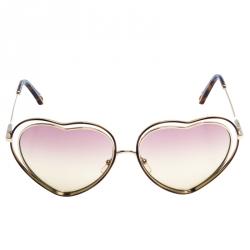 Chloe Gold/Pink Brown Gradient CE131S Heart Shape Sunglasses