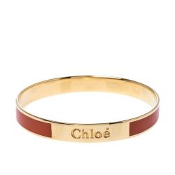 Chloé Orange Enamel Gold Tone Holly Bangle Bracelet